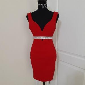 Honey and Rosie Red Deep V Mini Dress